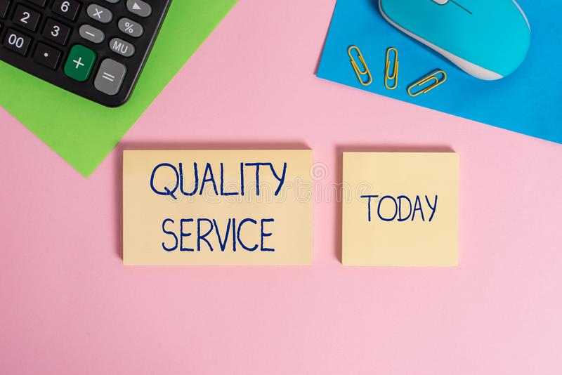 Writing note showing Quality Service. Business photo showcasing how well delivered service conforms to. Writing note showing Quality Service. Business concept royalty free stock photography