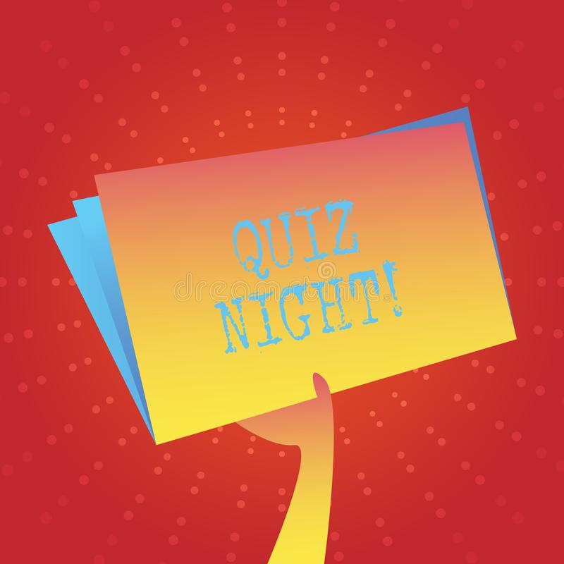 Writing note showing Quiz Night. Business photo showcasing evening test knowledge competition between individuals Hand vector illustration