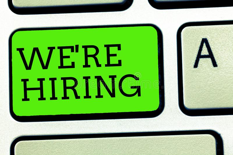 Writing note showing We re are hiring. Business photo showcasing Job vacancy Manpower polling Recruiting Available royalty free stock photos