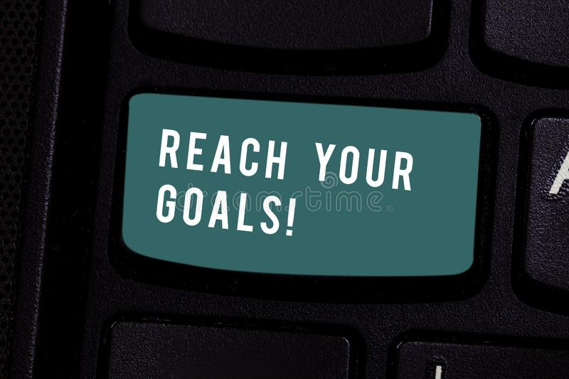Writing note showing Reach Your Goals. Business photo showcasing achieve what you wanted to be done dreams or to do list. Writing note showing Reach Your Goals royalty free stock photos