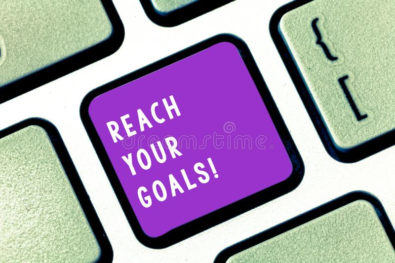 Writing note showing Reach Your Goals. Business photo showcasing achieve what you wanted to be done dreams or to do list. Writing note showing Reach Your Goals stock images