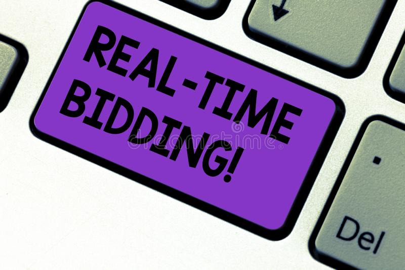 Writing note showing Real Time Bidding. Business photo showcasing Buy and sell advertising inventory by instant auctions Keyboard. Key Intention to create stock image