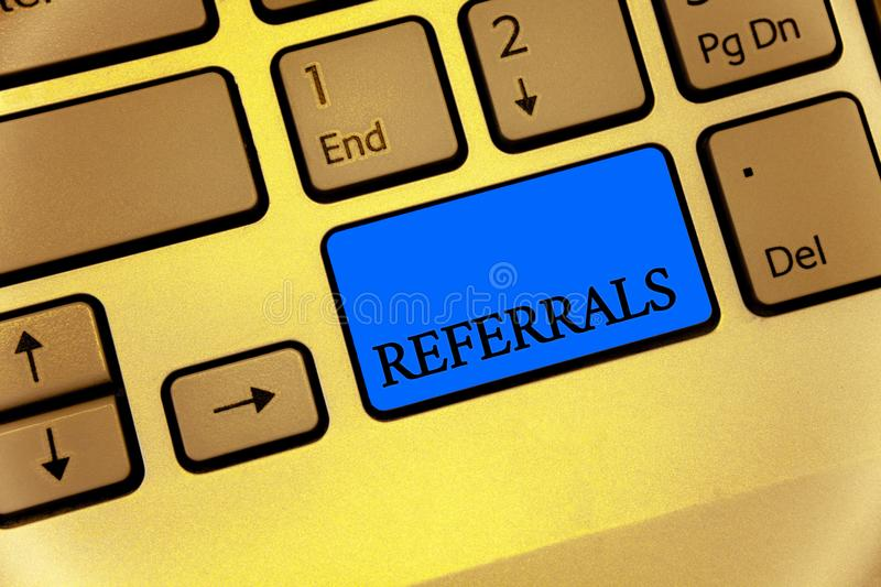 Writing note showing Referrals. Business photo showcasing Act of referring someone or something for consultation review Keyboard b. Rown key yellow laptop royalty free stock photos