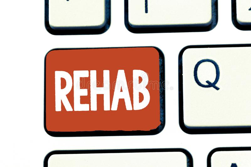 Writing note showing Rehab. Business photo showcasing course treatment for drug alcohol dependence typically at. Residential stock images
