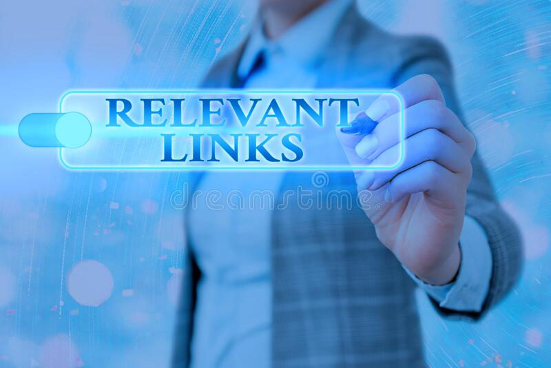 Writing note showing Relevant Links. Business photo showcasing Significant sites for a particular topic Associated. Writing note showing Relevant Links. Business royalty free stock photos