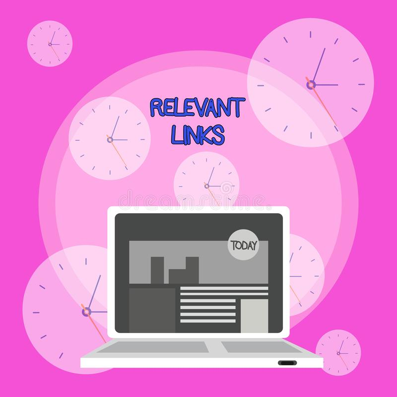 Writing note showing Relevant Links. Business photo showcasing Significant sites for a particular topic Associated. Writing note showing Relevant Links. Business royalty free illustration
