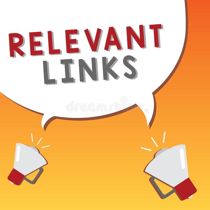 Writing note showing Relevant Links. Business photo showcasing Significant sites for a particular topic Associated.  royalty free illustration
