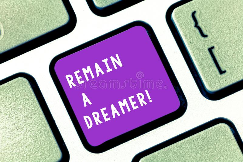 Writing note showing Remain A Dreamer. Business photo showcasing they spend lot of time thinking about and planning. Writing note showing Remain A Dreamer stock images