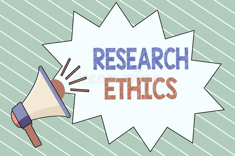 Writing note showing Research Ethics. Business photo showcasing interested in the analysis of ethical issues that raise. D stock illustration