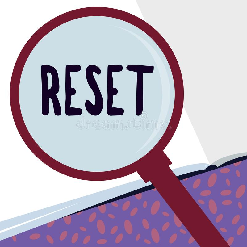 Writing note showing Reset. Business photo showcasing cause device return to its factory mode Set again zero start point vector illustration