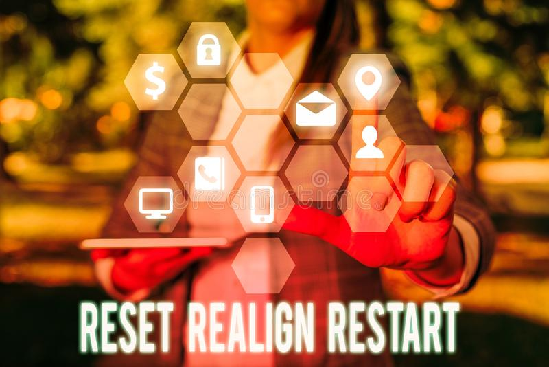 Writing note showing Reset Realign Restart. Business photo showcasing Life audit will help you put things in. Writing note showing Reset Realign Restart royalty free stock images