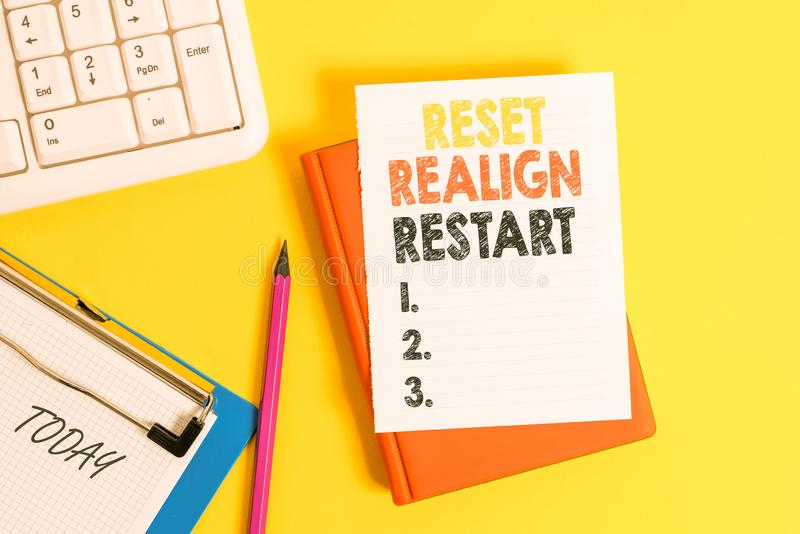 Writing note showing Reset Realign Restart. Business photo showcasing Life audit will help you put things in. Writing note showing Reset Realign Restart stock photo