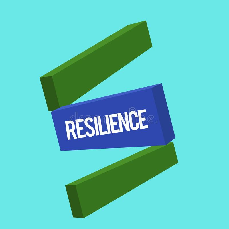 Writing note showing Resilience. Business photo showcasing Capacity to recover quickly from difficulties Persistence.  stock illustration