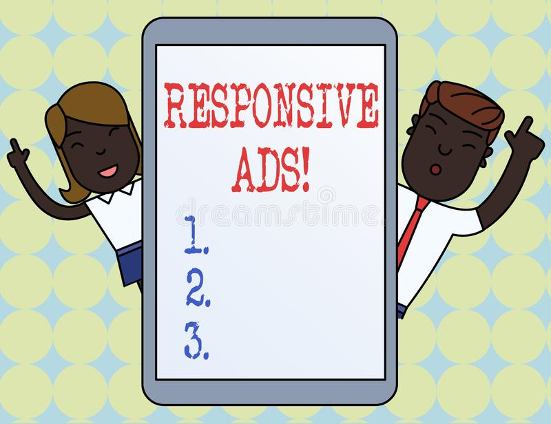 Writing note showing Responsive Ads. Business photo showcasing Automatically adjust form and format to fit existing ad. Writing note showing Responsive Ads stock illustration