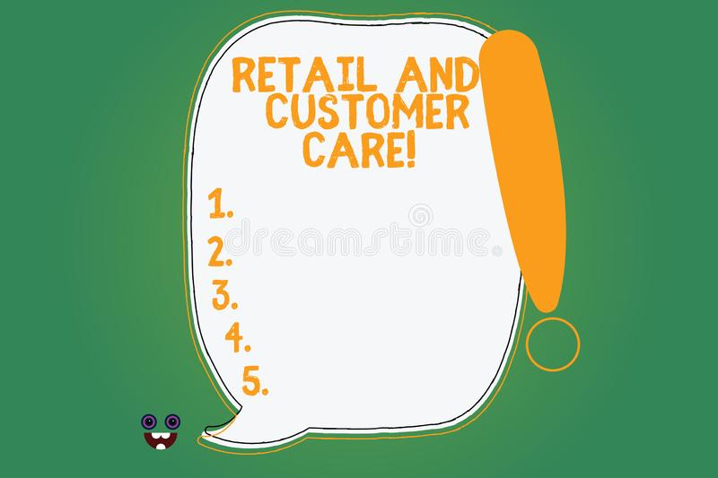 Writing note showing Retail And Customer Care. Business photo showcasing Shopping assistance store helping services Blank Color. Speech Bubble Outlined with vector illustration