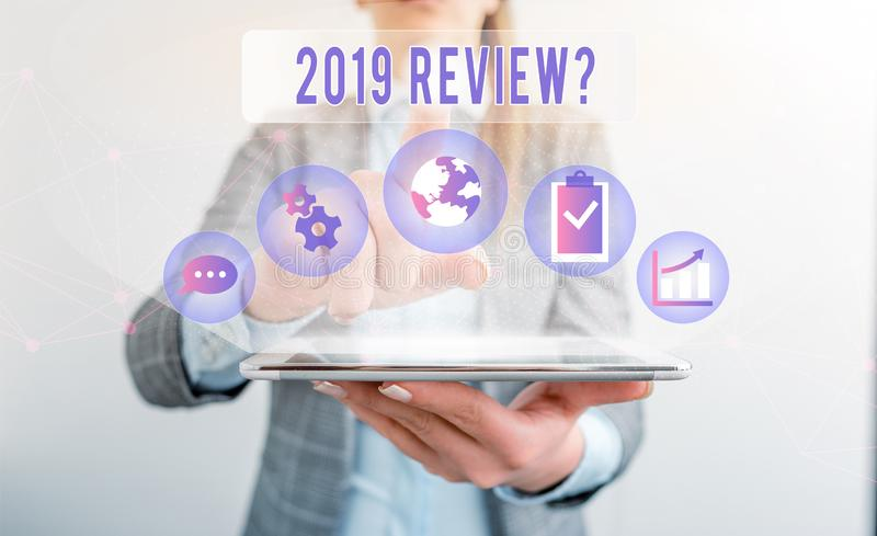 Writing note showing 2019 Review Question. Business photo showcasing remembering past year events main actions or good. Writing note showing 2019 Review Question stock photo