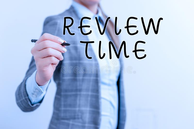 Writing note showing Review Time. Business photo showcasing to think or talk about something again Set schedule to. Writing note showing Review Time. Business royalty free stock photos