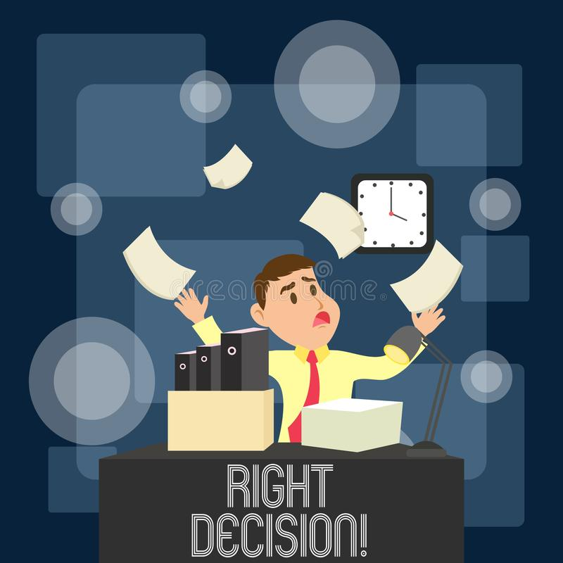 Writing note showing Right Decision. Business photo showcasing making good choice after considering a lot of. Writing note showing Right Decision. Business royalty free illustration