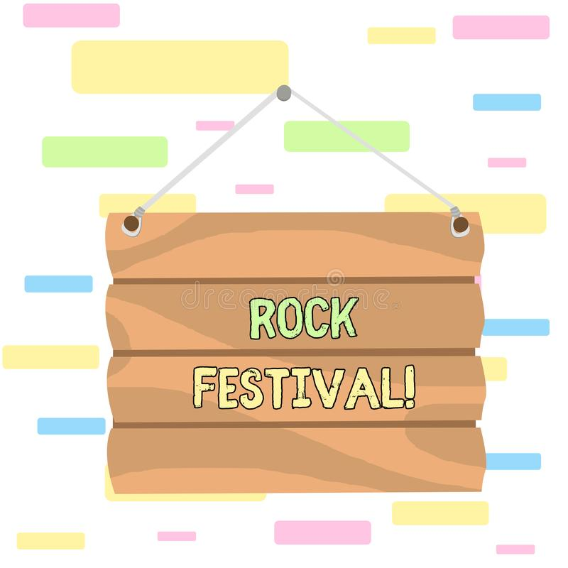 Writing note showing Rock Festival. Business photo showcasing Largescale rock music concert featuring heavy metals genre. Writing note showing Rock Festival royalty free illustration