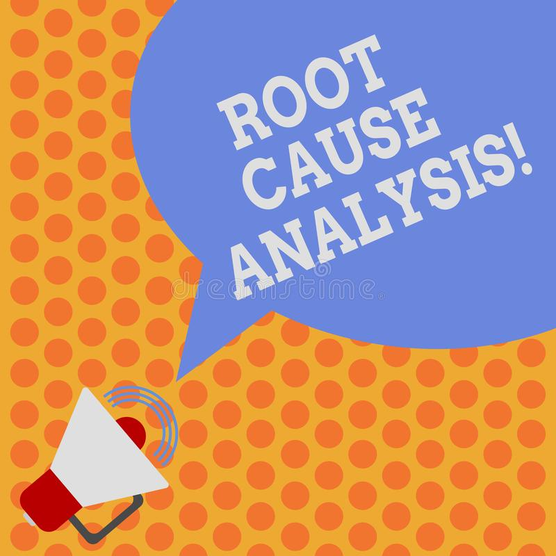 Writing note showing Root Cause Analysis. Business photo showcasing method of problem solving used for identifying. Causes Megaphone with Sound Volume Icon and vector illustration
