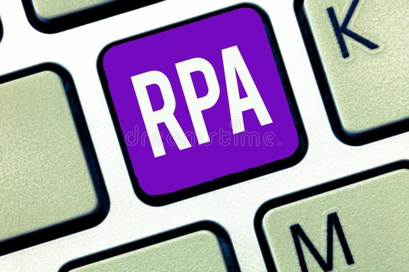 Writing note showing Rpa. Business photo showcasing The use of software with artificial intelligence to do basic task stock photo