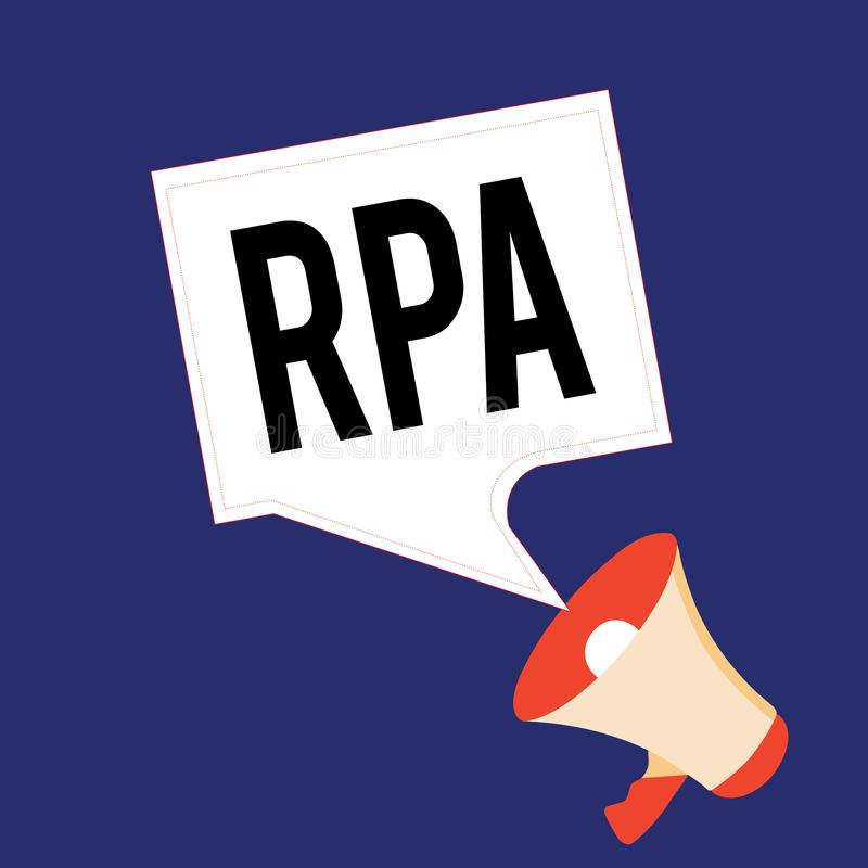 Writing note showing Rpa. Business photo showcasing The use of software with artificial intelligence to do basic task.  vector illustration