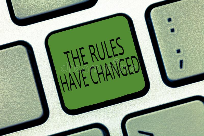 Writing note showing The Rules Have Changed. Business photo showcasing the agreement or Policy has a new set of commands.  royalty free stock photography