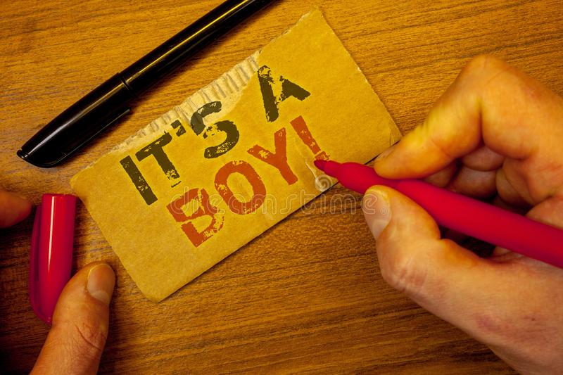 Writing note showing It S A Boy Motivational Call. Business photos showcasing Male baby is coming Gender reveal CelebrationMan cr stock photography