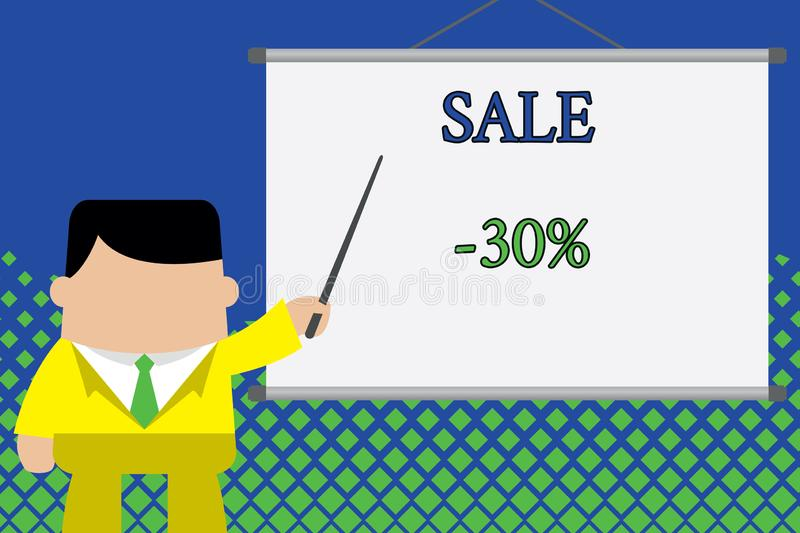 Writing note showing Sale 30 Percent. Business photo showcasing A promo price of an item at 30 percent markdown. Writing note showing Sale 30 Percent. Business stock illustration