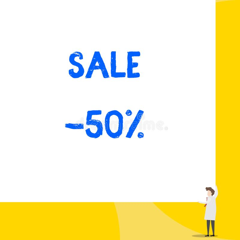 Writing note showing Sale 50 Percent. Business photo showcasing A promo price of an item at 50 percent markdown Young. Writing note showing Sale 50 Percent royalty free illustration