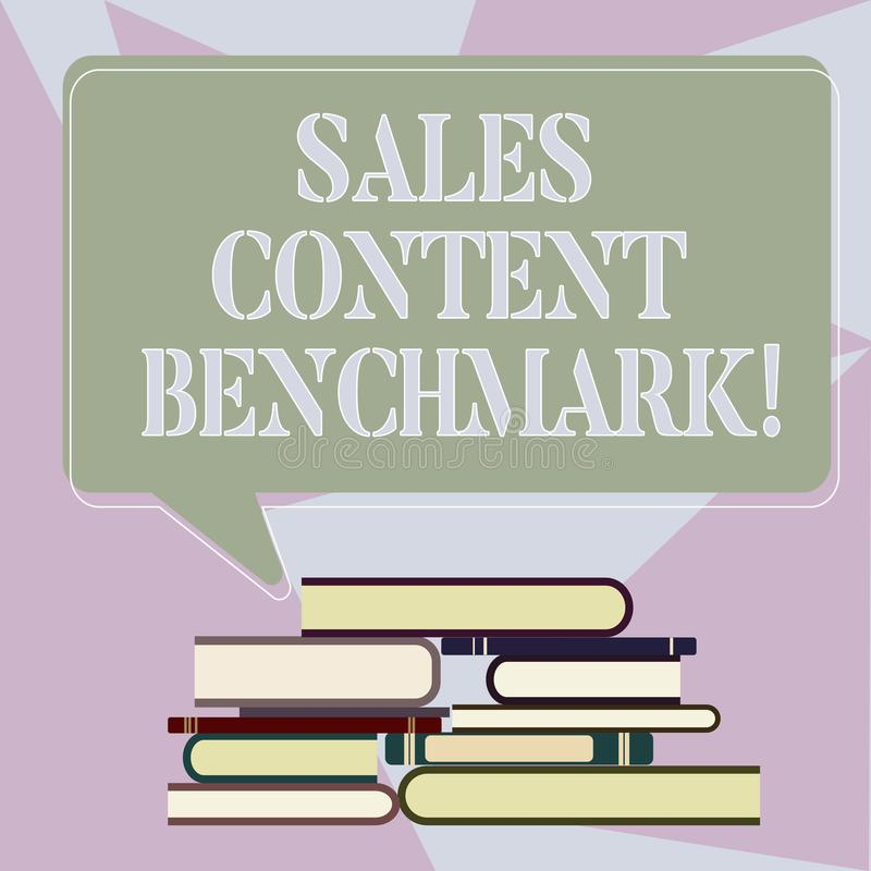 Writing note showing Sales Content Benchmark. Business photo showcasing Crafting sales enablement content that converts. Uneven Pile of Hardbound Books and royalty free illustration