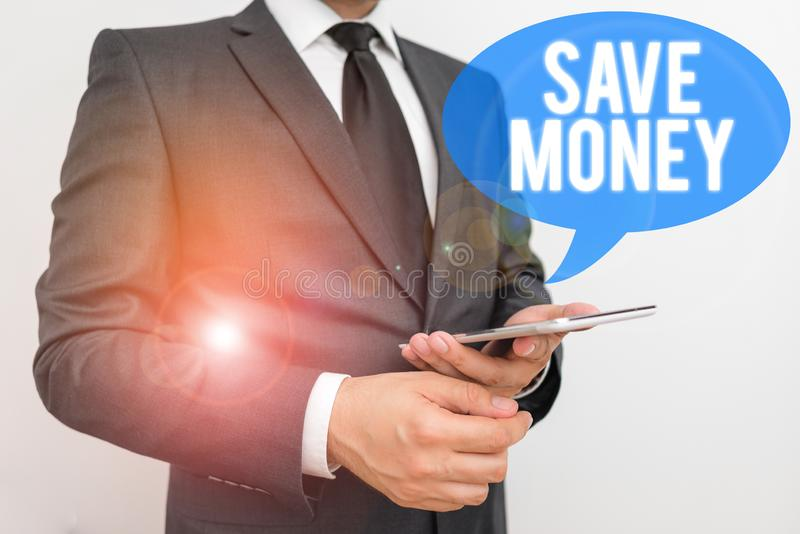 Writing note showing Save Money. Business photo showcasing store some of your cash every month to use them sometime. Writing note showing Save Money. Business stock photography