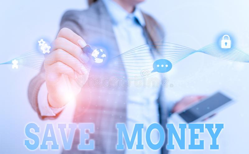 Writing note showing Save Money. Business photo showcasing store some of your cash every month to use them sometime. Writing note showing Save Money. Business royalty free stock image