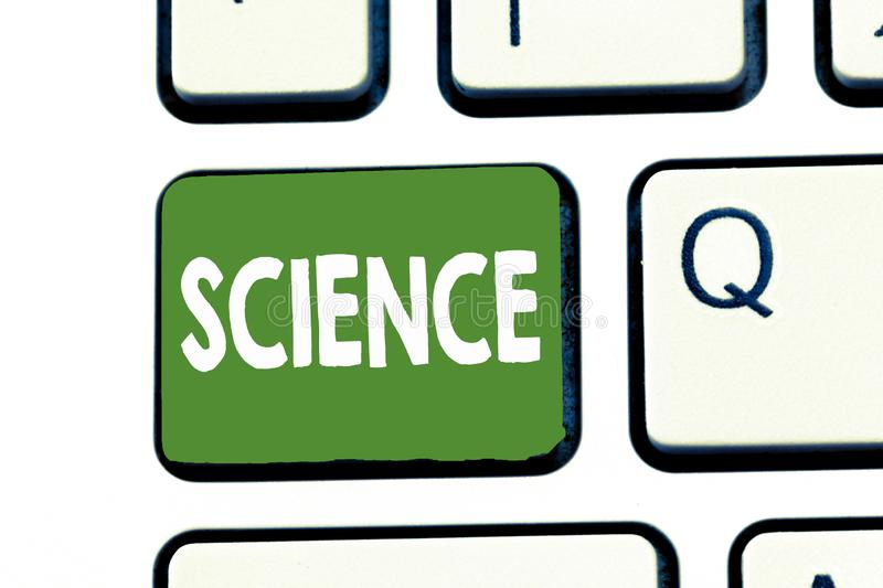 Writing note showing Science. Business photo showcasing Study of physical world structure behavior Experimental research.  royalty free stock image