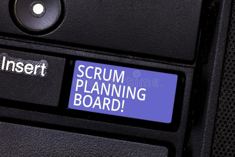 Writing note showing Scrum Planning Board. Business photo showcasing visual display of the progress of the Scrum team. Keyboard key Intention to create computer stock photo