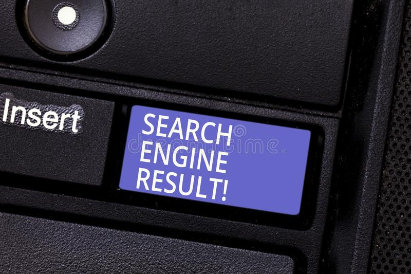 Writing note showing Search Engine Result. Business photo showcasing pages displayed by search engine in response to a. Query Keyboard key Intention to create stock photos