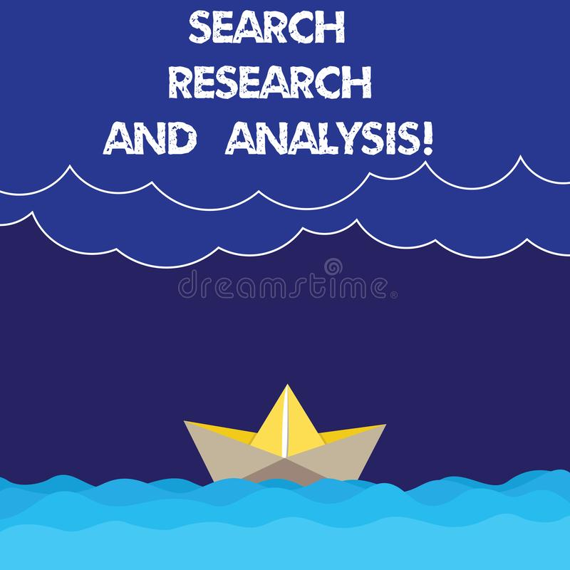 Writing note showing Search Research And Analysis. Business photo showcasing Investigation data information analytics Wave Heavy. Clouds and Paper Boat Seascape royalty free stock photos