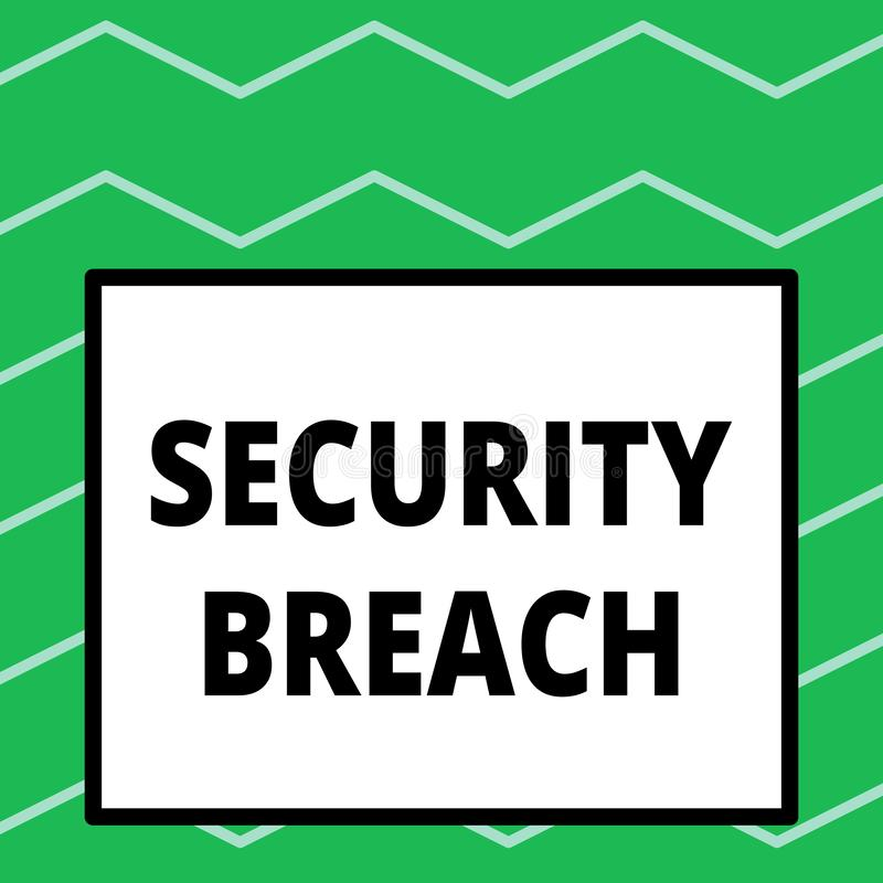 Writing note showing Security Breach. Business photo showcasing incident that results in unauthorized access of data Big. Writing note showing Security Breach royalty free illustration