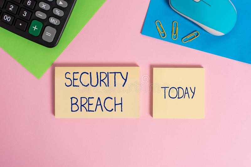 Writing note showing Security Breach. Business photo showcasing incident that results in unauthorized access of data. Writing note showing Security Breach royalty free stock image