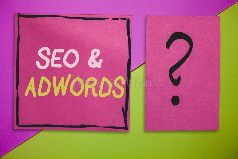 Writing note showing Seo and Adwords. Business photo showcasing Pay per click Digital marketing Google Adsense.  stock photo