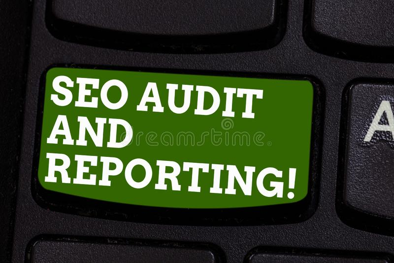 Writing note showing Seo Audit And Reporting. Business photo showcasing Search Engine Optimization review feedback stock photo