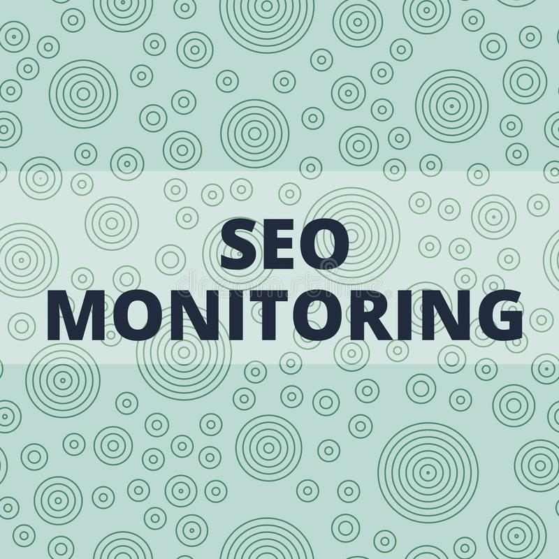 Writing note showing Seo Monitoring. Business photo showcasing Tracking the progress of strategy made in the platform. Writing note showing Seo Monitoring vector illustration
