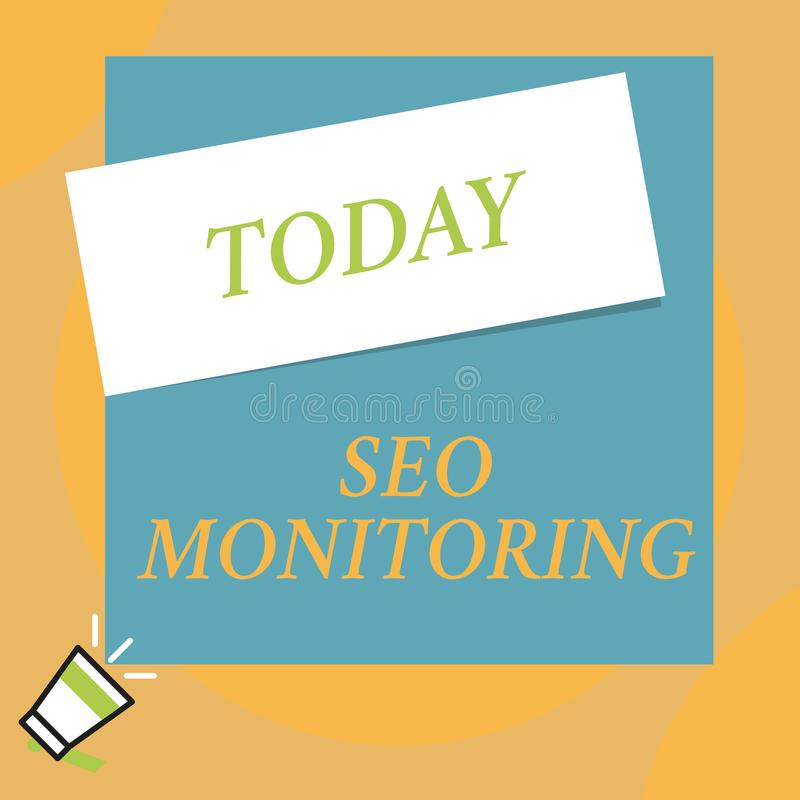Writing note showing Seo Monitoring. Business photo showcasing Tracking the progress of strategy made in the platform. Writing note showing Seo Monitoring royalty free illustration