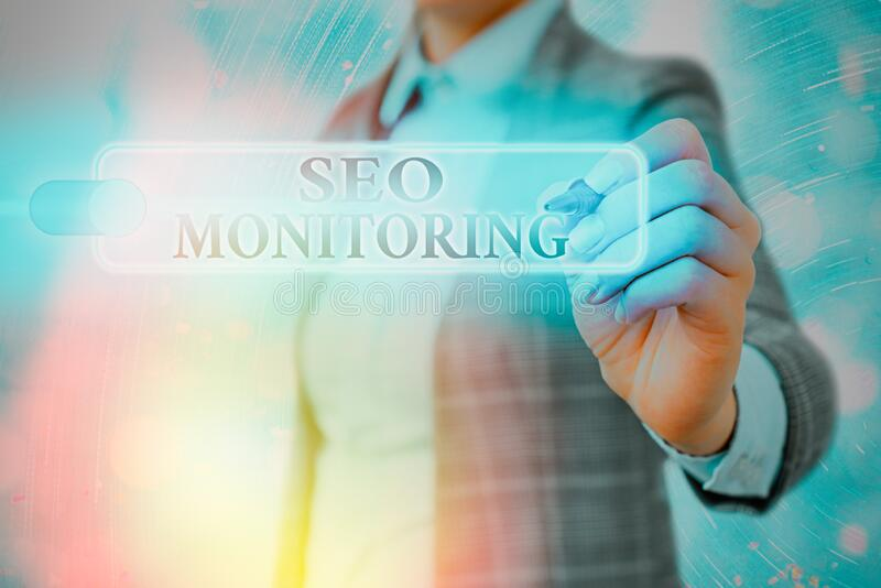 Writing note showing Seo Monitoring. Business photo showcasing Tracking the progress of strategy made in the platform. Writing note showing Seo Monitoring stock photo