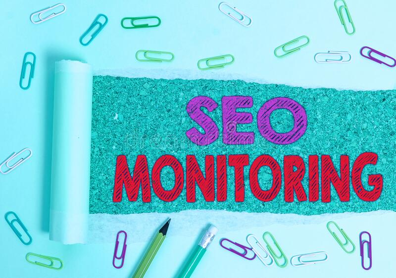 Writing note showing Seo Monitoring. Business photo showcasing Tracking the progress of strategy made in the platform. Writing note showing Seo Monitoring royalty free stock image