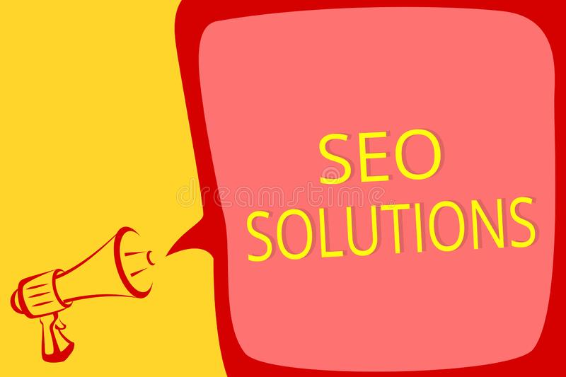 Writing note showing Seo Solutions. Business photo showcasing Search Engine Result Page Increase Visitors by Rankings Megaphone lo. Udspeaker speech bubble stock illustration