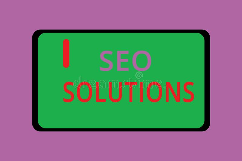 Writing note showing Seo Solutions. Business photo showcasing Search Engine Result Page Increase Visitors by Rankings.  stock illustration