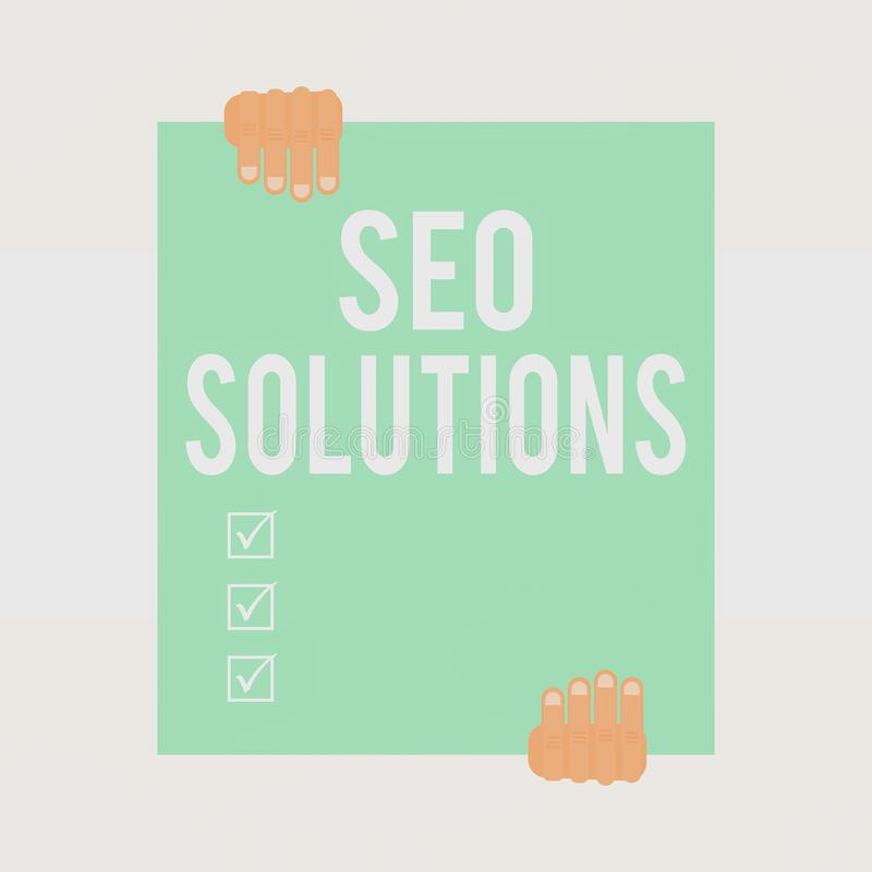Writing note showing Seo Solutions. Business photo showcasing Search Engine Result Page Increase Visitors by Rankings. Writing note showing Seo Solutions stock illustration
