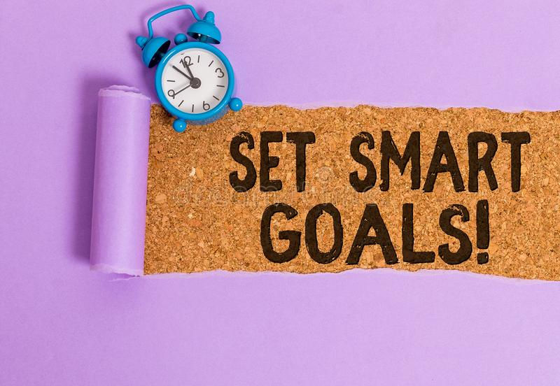 Writing note showing Set Smart Goals. Business photo showcasing list to clarify your ideas focus efforts use time wisely. Writing note showing Set Smart Goals royalty free stock photo
