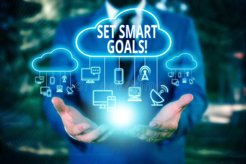 Writing note showing Set Smart Goals. Business photo showcasing list to clarify your ideas focus efforts use time wisely. Writing note showing Set Smart Goals stock photos